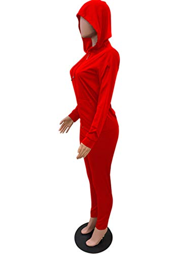 CORAFRITZ Conjunto casual de 2 piezas para mujer, color sólido, cuello en V, cremallera de manga larga, con capucha, pantalones de tobillo delgados
