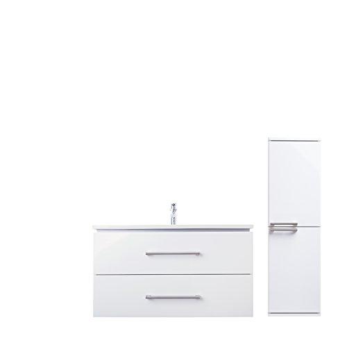 ZLATA Badmöbel Set 3tlg mit Waschbeckenschrank, Keramik Waschtisch und Midischrank | Maße(Waschplatz): 85 cm x 55 cm x 45 cm (BxHxT) | Marke JUVENTA * Serie ZLATA | Hochwertiges Keramik Waschbecken | Möbel mit exzellenter Hochglanz Lackierung in Weiß Echtlack | Edelstahl Griffe | Auzüge mit Soft-Close Funktion | Bereits vormontiert | Design Modern | 100{7aa6a415c7873318d4dd43cb02f5aacb4c214e6cce87347fd258c7de0a06a5ff}ige Zufriedenheitsgarantie | Hohe Schmutzabweisung * Wasserabweisend | Kostenloser Versand und Rückversand
