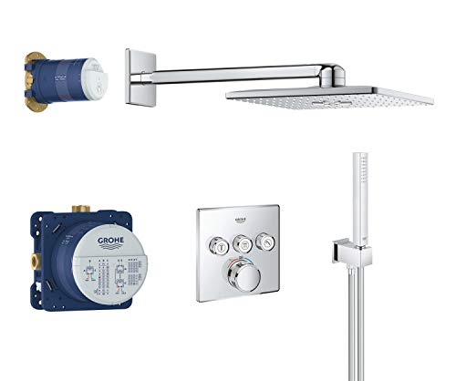 GROHE Grohtherm Smartcontrol | Duschsystem Komplettset, inkl. Unterputz-Thermostat, Rapido SmartBox, Brauseschlauch u. Handbrause | chrom | 34706000