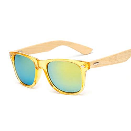 NJJX Gafas De Sol De Bambú Vintage Para Hombre Y Mujer, Gafas De Sol De Madera, Gafas De Sol Cuadradas Retro De Moda Para Hombre, Amarillo