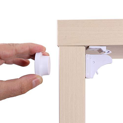 KIDIMAX® Magnetisches Schrankschloss, unsichtbare Kindersicherung für Schrank und Schubladen, ohne Bohren und Schrauben, Sicherung, Türschloss - 5 Schlösser + 1 Schlüssel