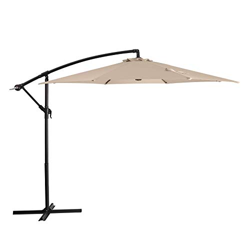Augecho Patio Offset Umbrella 10ft Cantilever Umbrella Market Outdoor Hanging Umbrellas with Crank & Cross Base (Beige)