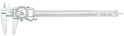 """Starrett 3202-12 Dial Caliper, Hardened Stainless Steel, 0-12"""" Range, 0.001"""" Graduation, White"""