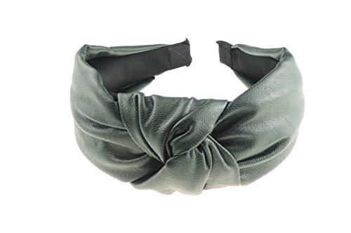 Glamour Girlz - Fascia per capelli da donna, elegante, in pelle, stile retrò, con nodi, colore: Verde militare
