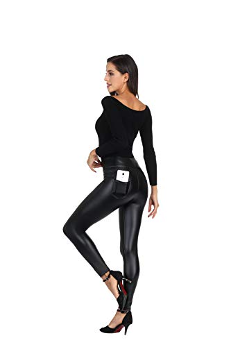 MCEDAR Women's Faux Leather Leggings with Pockets...