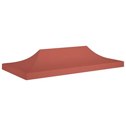 UnfadeMemory Partyzelt-Dach Ersatzdach Pavillondach Gartenpavillon-Abdeckung Festzeltdach für Gartenzelt Pavillon, 600D Oxford-Gewebe mit PVC-Beschichtung (6x3 m, Terracotta-Rot)