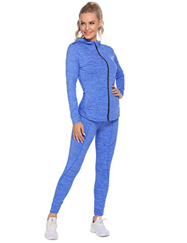 Ladies Workout jacket Activewear 2pcs Sport Suits Fitness Running Athletic Yoga Suit Tracksuits for Women (Blue,S)