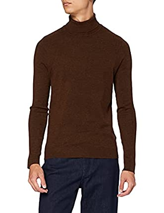 Marca Amazon - find. Jersey con Cuello Cisne Hombre, Marrón (Rust), XS, Label: XS