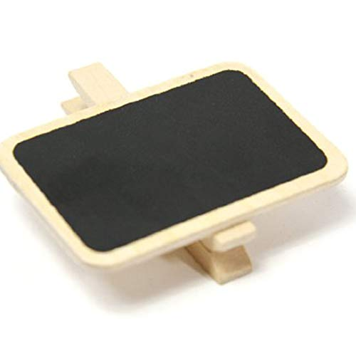 Pegcdu 10pcs Mini Pinzas de Madera de la Pizarra del Clip Tag Resumen para Foto de la Boda de Papel del Partido de Bricolaje