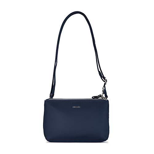 Pacsafe Stylesafe Double Zip Crossbody, Umhängetasche mit Doppelreißverschluss, Damen Handtasche mit mit Diebstahlschutz, Blau / Navy