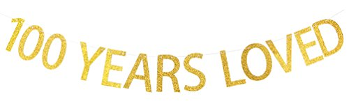 INNORU 100 Years Loved Banner Gold Glitter Sign - 100th Birthday Party Decorations
