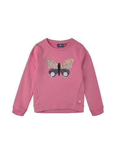 TOM TAILOR Mädchen Strick & Sweatshirts Sweatshirt mit Pailletten-Motiv pink Carnation|Rose,128/134