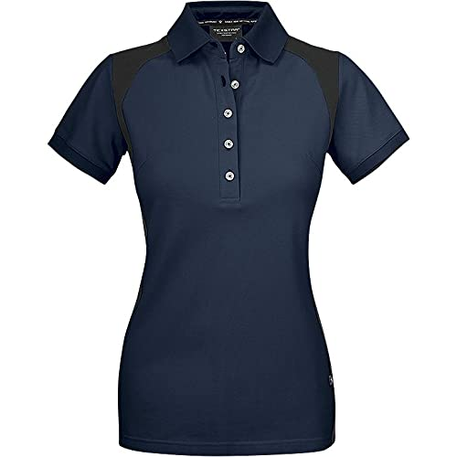Texstar PSW7 Damen Stretch Pikee Hemd mit Drei Knöpfen, Größe L, Marine