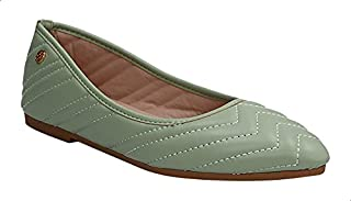 Dejavu Stitched Faux Leather Ballerina Shoes For Women