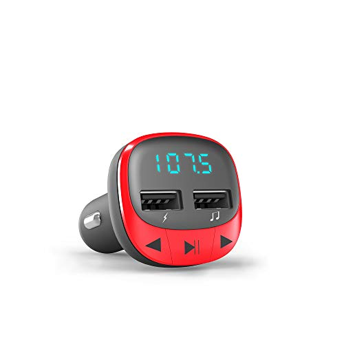 Energy Sistem Energy Car FM - Transmisor FM para vehículos (microSD, Carga USB, USB MP3) Rojo