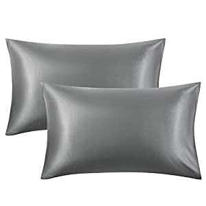 Bedsure Satin Pillowcase for Hair and Skin, 2-Pack - Standard Size (20x26 inches) Pillow Cases - Satin Pillow Covers…