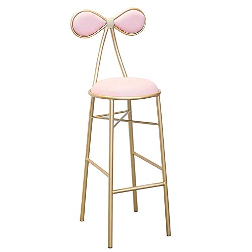 WHOJA Bar Stool Dining chair Metal leg Bowknot Backrest Bar Stool PU cushion Bearing weight 200kg Seat height 45/65/75cm Bar Stools Chairs Set (Color : Pink, Size : 45cm)