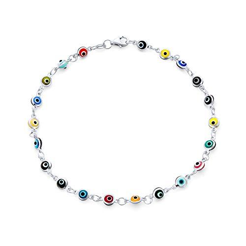 Bling Jewelry Turkish Evil Eyes Multi Color Anklet Link Ankle Bracelet for...