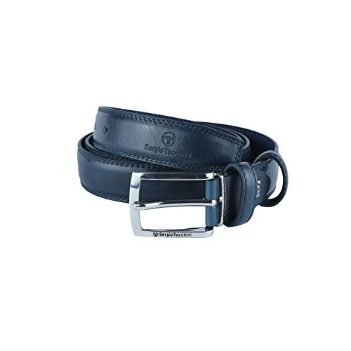 Sergio Tacchini Cintura Uomo Esterno PU Interno Pelle, Fibbia Nickel Free (125 (tg 54-56), Blu (441) 3 cm)