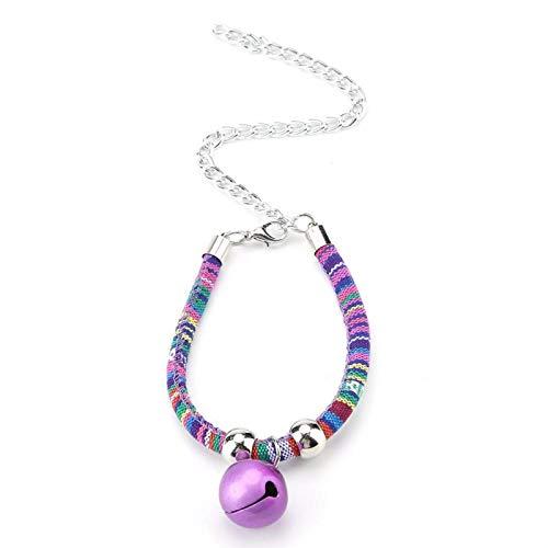 Tnfeeon Pet Kitten Cat Halskette mit Glocke, bequemes Haustierzubehör Zubehör Verstellbare Haustiere Halskette Verlängerungskette(lila)