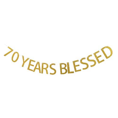 Harilla 50/70 aÑOS Blessed Glitter Gold Cumpleaños Aniversario Colgante Banner Decoración - 70