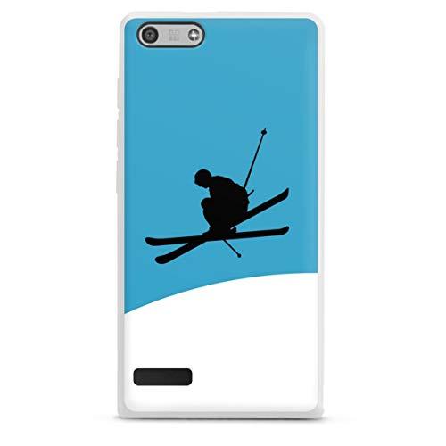 DeinDesign Silikon Hülle kompatibel mit Huawei Ascend P7 Mini Hülle weiß Handyhülle Ski Schnee Sport