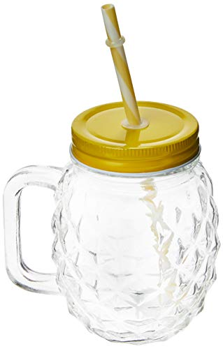 Caneca de Vidro com Tampa e Canudo Pineapple 480Ml Lyor Amarelo