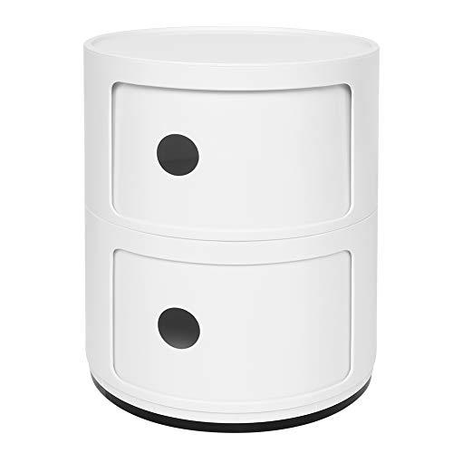 EBTOOLS 2 Lagen Container Componibile Rollcontainer Nachttisch Aufbewahrungsschrank mit Slippng Tür runder Kunststoff Beistelltische für Badezimmer-Schlafzimmer, Weiß