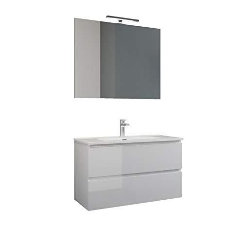 MaMa Store Atena Mobile sospeso con lavabo, specchio e lampada LED, Laminato, Bianco Lucido Laccato L. 62 X P. 47 X H. 53 Cm