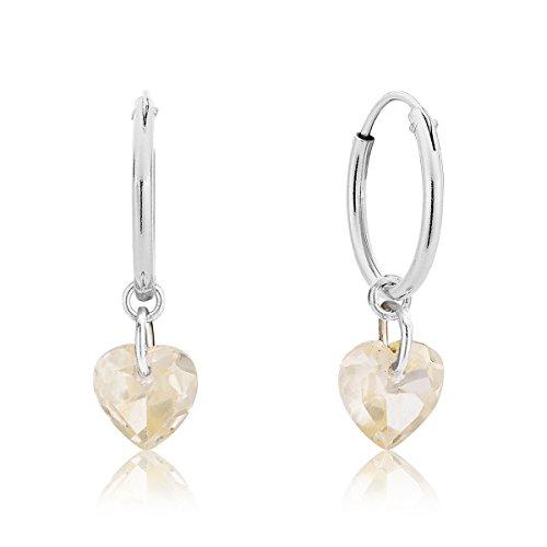 DTP Silver - Pendientes de Aro de mujer 14 mm - Plata 925 con Cristal Swarovski en forma de Corazón - Color Seda