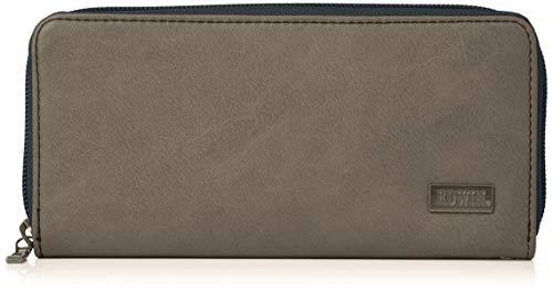 [エドウィン] 財布 ダークメタルプレート ラウンドZIP カード収納 紙幣収納 グレー