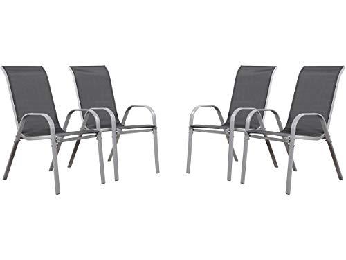 Juego de 4 sillas jardín Textileno Cordoba - Phoenix - Gris oscuro / plateado