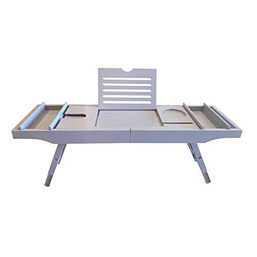 Jwkcm badkuip Caddy lade multifunctioneel, houten bad rack bad plank met wijnglas houder en tablet ondersteuning (Bamboo)