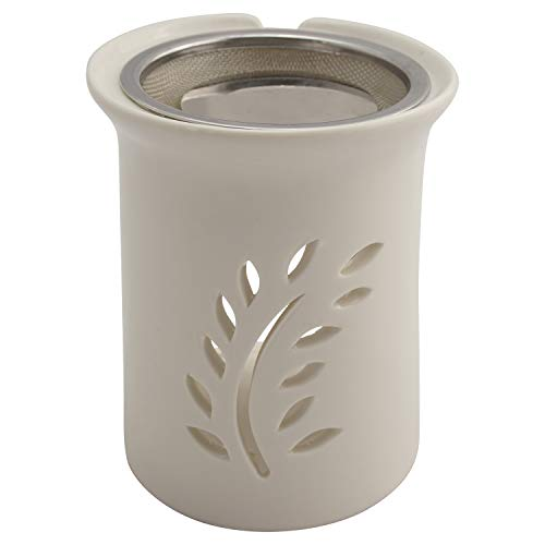 K W Räucherstövchen mit Sieb und Metallscheibe - weiße Keramik – Design Friedenszweig – H 11cm