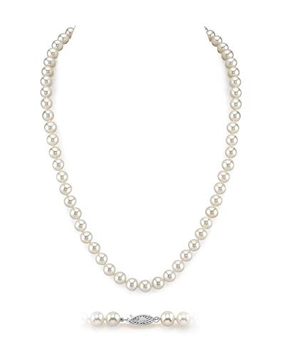 """THE PEARL SOURCE 6.5-7mm AAA Quality Round White Freshwater Cultured Pearl Necklace for Women in 18"""" Princess Length"""