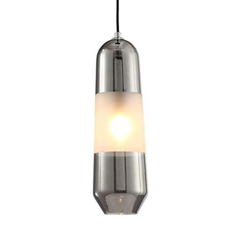 LOKKRG Lámpara Colgante Vintage Lámpara de Cristal Ajustable Lámpara de Techo de Hotel Simple Pasillo Sala de Estar Dormitorio Lámpara Colgante de Montaje Empotrado (Gris humo-12cm)