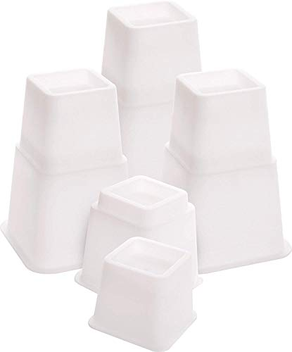 Utopia Bedding 8 Stück Hochwertige verstellbare Möbelerhöher (4 hoch und 4 kurz) - Starke platzsparende Steigleitung - Betthöher, Tischerhöher, Stuhlerhöher, Sofaerhöher (7 bis 20cm) (Weiß)