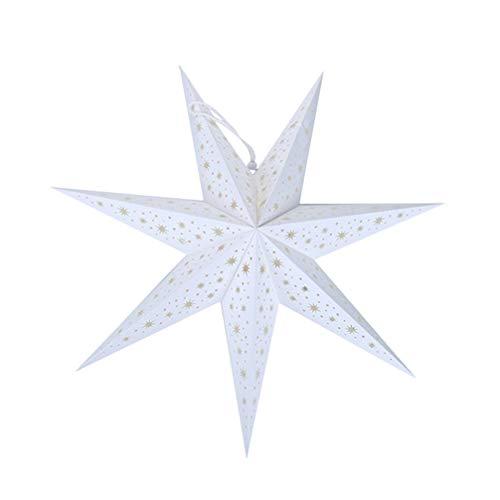 WINOMO Papierstern Lampe 75cm Papier Weihnachtssterne 3D Leuchtstern Fensterdeko Stern Weihnachten Beleuchtet Christbaumspitze für Neujahr Silvester Party Deko Ohne Glühbirne