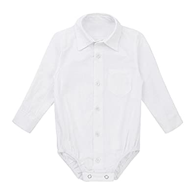 YiZYiF Baby Boys' Collar Long Sleeve Formal Dress Shirt Romper Bodysuit Wedding Party Outfits White 6-9 Months
