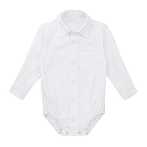 TiaoBug Baby Hemd-Body Langarm mit Kragen Strampler Baby-Jungen Hemd festlich Bodysuit Anzug Hemd für Hochzeit Taufe Geburtstag Geschenk Sommer Kleidung Weiß 74