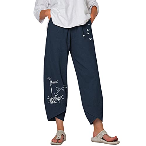 Womens Capri Pants for Summer Beach Casual Harem Comfy Pajama Work Yoga Workout Fitness Cropped Trouser (L,Blue)
