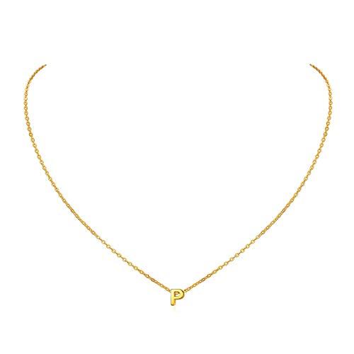 ChicSilver Collar Inicial Griego Mujer P Joyerías Antialérgica de Plata de Ley 925 Oro Amarillo Dorado Colgante Pequeño Alfabeto Letra Inicial Diseño Simple Moderno