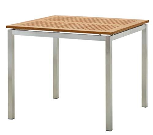 ASS Edelstahl Teak Gartentisch 90x90 cm Holztisch Esstisch Tisch Massive Ausführung A-Grade Teakholz Modell: Kuba