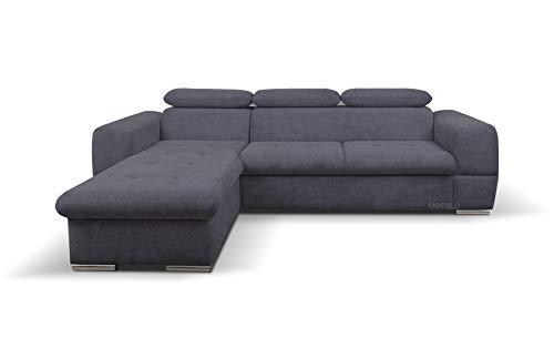 MOEBLO Ecksofa mit Schlaffunktion und Bettkasten Sofa Couch L-Form Polstergarnitur Wohnlandschaft Polstersofa mit Ottomane Couchgranitur mit Bettfunktion -...