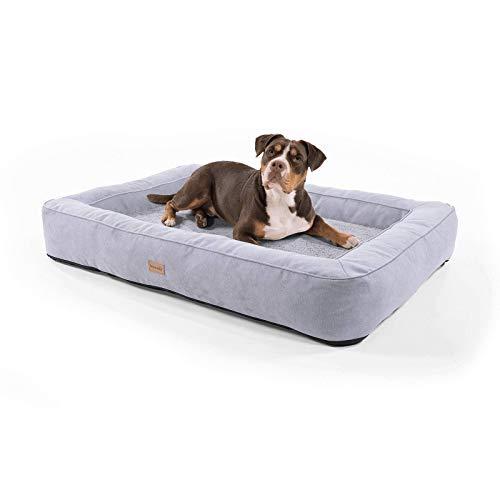 brunolie Bruno extra großer Hundekorb, waschbar, hygienisch und rutschfest, orthopädisches Hundebett mit Kissen und atmungsaktivem Obermaterial in Grau, Größe XL (120 x 85 x 17 cm)