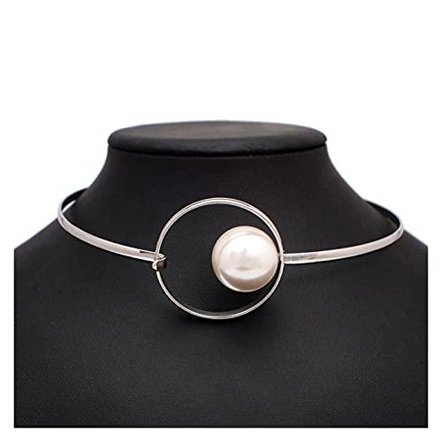 ZCPCS Big Imitation Pearl Torpes Torques Chokers Collares para Mujer Declaración Babero Collar Collar Minimalismo Joyería 2021 (Metal Color : Silver Necklaces)