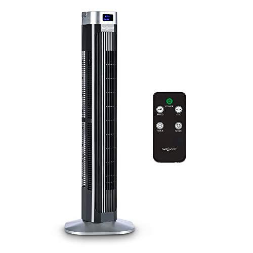 oneConcept Hightower 2G - Säulenventilator, Standventilator, Turmventilator, Energiesparender Dauerbetrieb: 42 W, Oszillation 45°, Luftdurchsatz: 1.807 m³/h, 12-h-Timer, 3 Betriebsmodi, schwarz