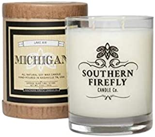 Southern Firefly Candle Co. Michigan - Lake Air 14oz Glass, State Pride, Homesick