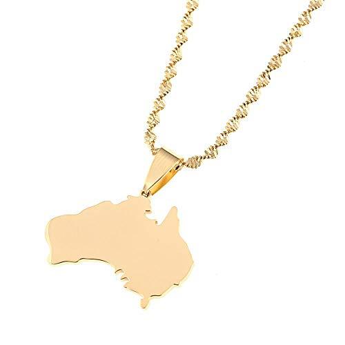 De acero inoxidable Mapa de la Asociación Australiana Collares pendientes Aus País y Tiempo actual o lea el último encanto de la joyería-Color dorado