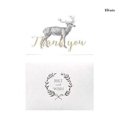 Gouden folie bedankkaarten met enveloppen Elk uitgevouwen stijl Pack van 10 Gift Cards